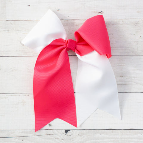 "6"" Hot Pink & White Long Tail Big Hair Bow"