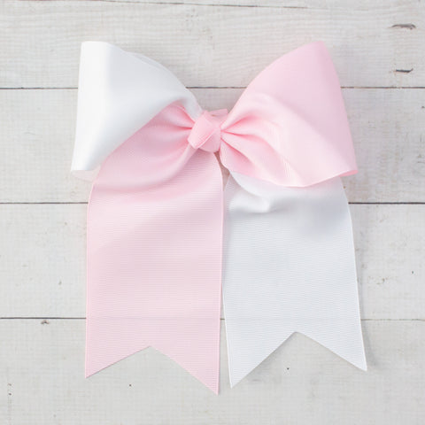 "6"" Light Pink & White Long Tail Big Hair Bow"