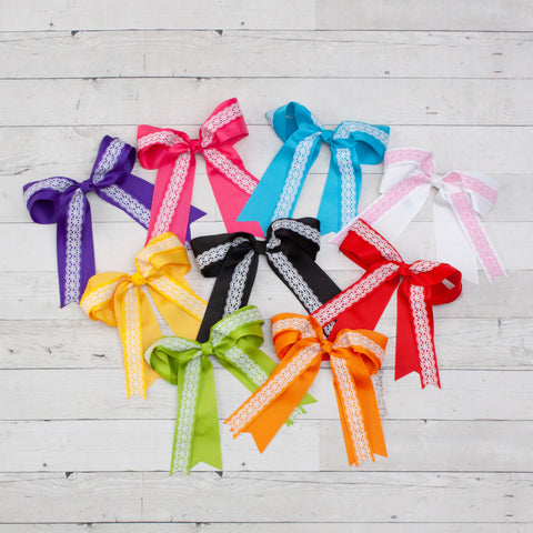 "8"" Grosgrain & Lace Long Tail Hair Bow - 9 Colors"