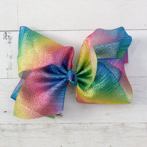 "8"" Rainbow Shimmery Organza Big Hair Bow"