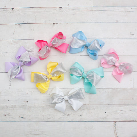 "6"" Pastel Grosgrain & Organza Hair Bows - 7 Colors"