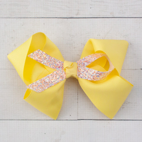 "6"" Grosgrain & Glitter Hair Bows - 7 Colors"