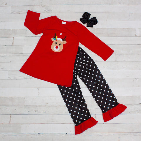 Leading Santa's Sleigh Long Sleeve Pant Set - Top & Pants
