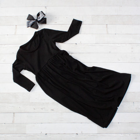 Long Sleeve Maxi Dresses - Black