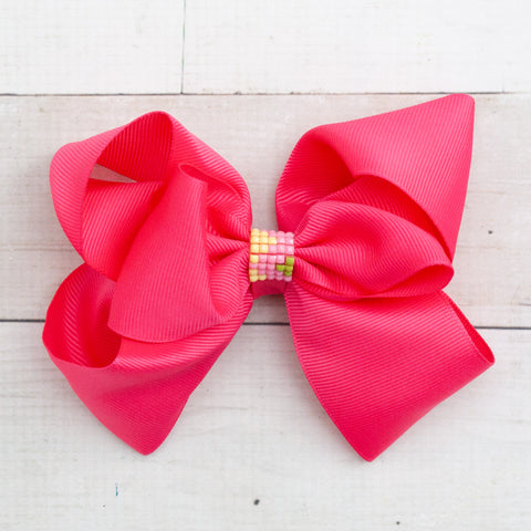 "6"" Hot Pink Beaded Center Grosgrain Big Hair Bow Clip"