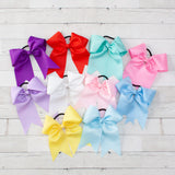 "8"" Long Tail Big Hair Bow Ponytail Holder - 10 Colors"