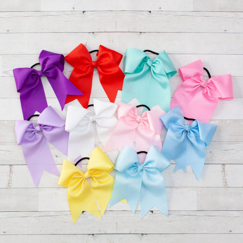 "6"" Long Tail Big Hair Bow Ponytail Holder - 10 Colors"