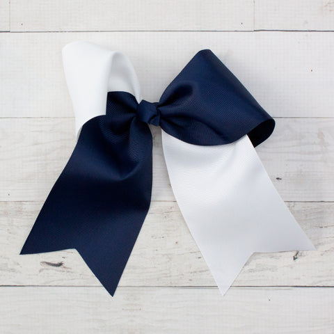 "6"" Navy & White Long Tail Big Hair Bow"