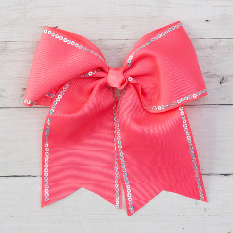 "8"" Sequin Lined Bubblegum Pink Long Tail Big Hair Bow"