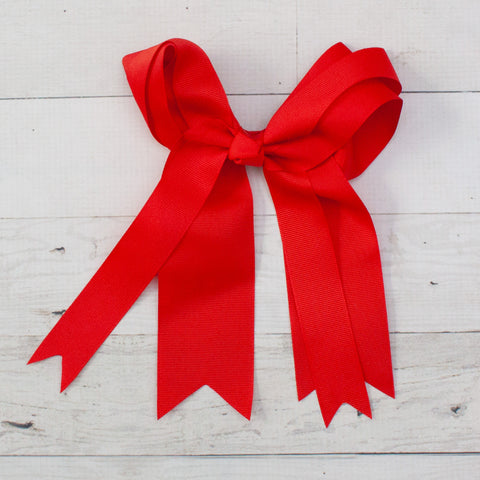 "Red Layered Long Tail 8"" Grosgrain Bow"