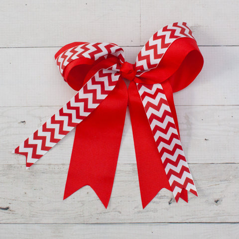 "Red with White Chevron Long Tail 8"" Grosgrain Bow"