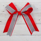 "6"" Grosgrain & Houndstooth Long Tail Hair Bow - 4 Colors"