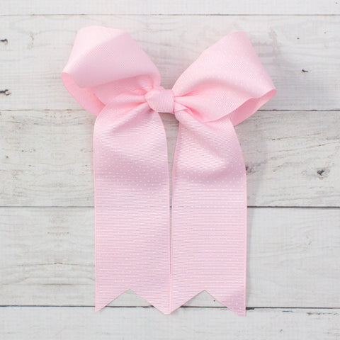 "6"" Light Pink with White Polka Dots Long Tail Grosgrain Bow"