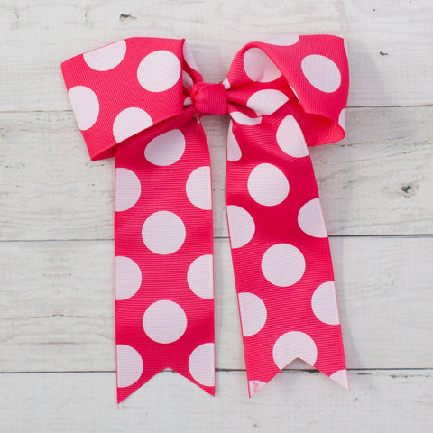 "6"" Bubblegum Pink with White Polka Dots Long Tail Grosgrain Bow"