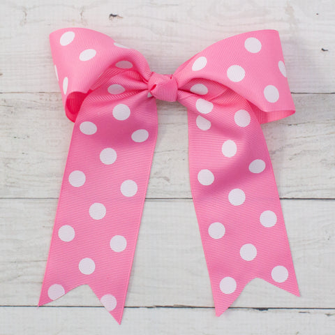 "6"" Pink with White Polka Dots Long Tail Grosgrain Bow"