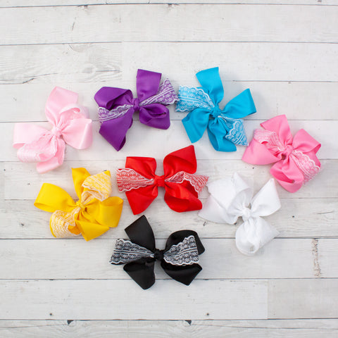 "6"" Grosgrain & Lace Hair Bows - 8 Colors"