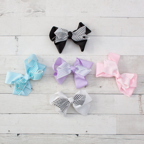 "6"" Grosgrain & Houndstooth Hair Bows - 5 Colors"