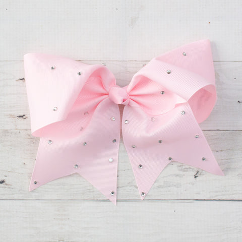 "8"" Light Pink Big Hair Bow with Rhinestones"