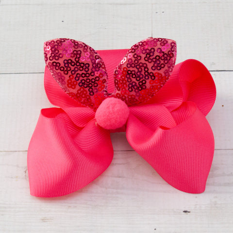 "6"" Sequin Bunny Ear Grosgrain Hair Bow - 7 Bold Colors"