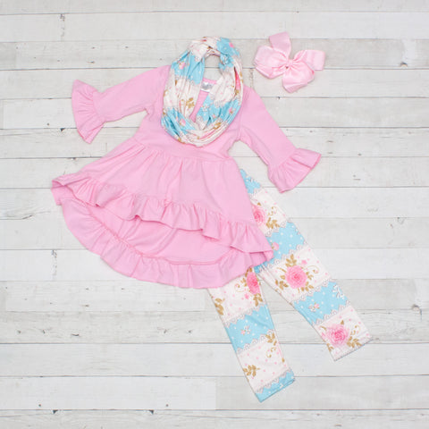Sweet Little Girly Girl 3pc A-Line Tunic Set - Top, Pants & Scarf