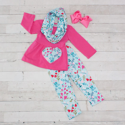 Love Muffin 3pc A-Line Tunic Set - Top, Pants & Scarf