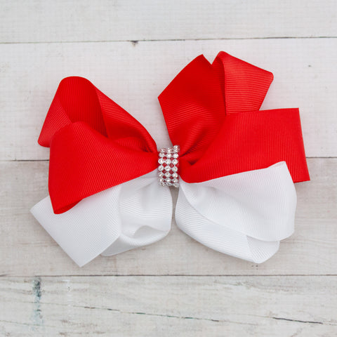 "6"" White & Red Rhinestone Center Grosgrain Hair Bow Clips"