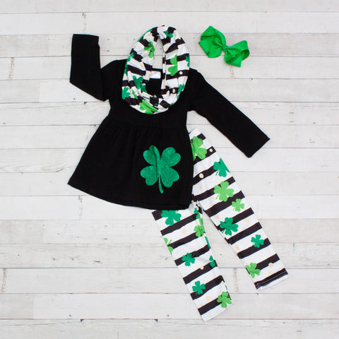 Lucky Clover 3pc A-Line Tunic Set - Top, Pants & Scarf