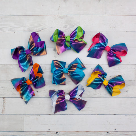 "6"" Grosgrain & Shiny Satin Rainbow Hair Bow Clip - 7 Colors"