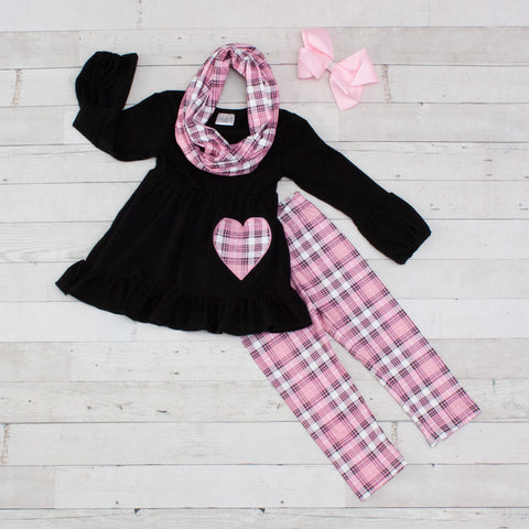 Checkered Love 3pc A-Line Tunic Set - Top, Pants & Scarf
