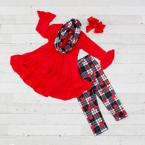 Heart In A Box 3pc A-Line Tunic Set - Top, Pants & Scarf