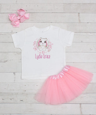 Pink Bunny Personalized 3pc Shirt and Ruffle Tutu Set