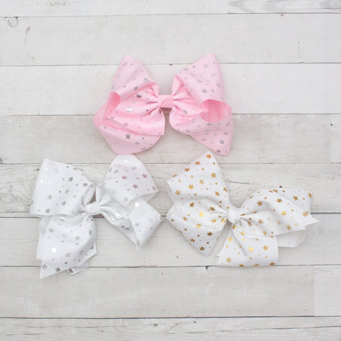 "8"" Starry Big Hair Bow Clip - 3 Colors"