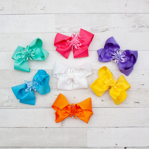 "6"" Rosette Center Grosgrain Hair Bows - 7 Colors"