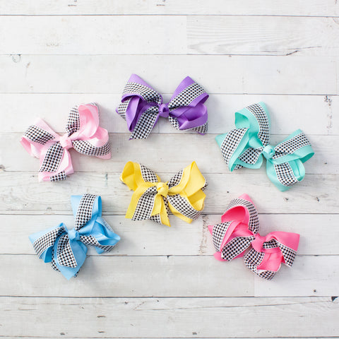 "6"" Pastel Houndstooth & Grosgrain Hair Bows - 6 Colors"