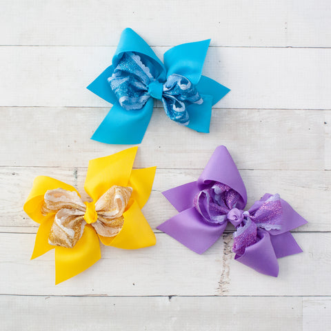 "6"" Sparkly Lace Center Grosgrain Hair Bows - 3 Colors"
