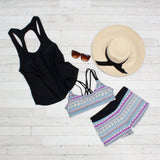 Gray Boho Sporty 2pcs Tankini Swimsuit with Black Tank Cover