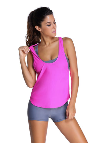 Gray Sporty 2pcs Tankini Swimsuit with Bright Pink Tank Cover