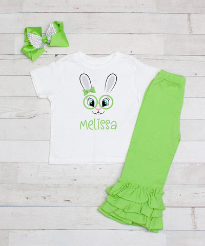 Lime Bunny Glasses Personalized 3pc Shirt and Ruffle Pants Set