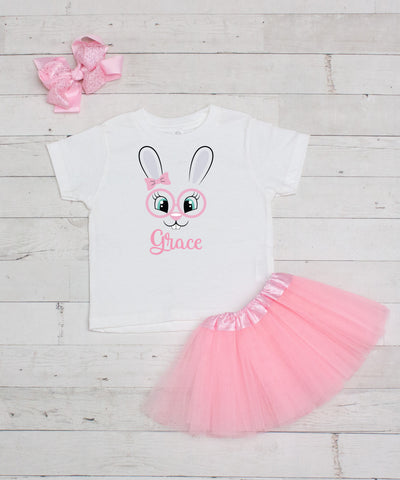 Pink Bunny Glasses Personalized 3pc Shirt and Tutu Set