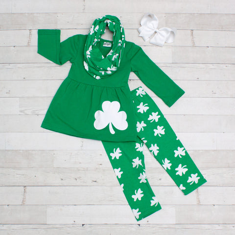 Little Clover 3pc A-Line Tunic Set - Top, Pants & Scarf
