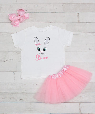 Pink Bunny with Bow Personalized 3pc Shirt and Tutu Set