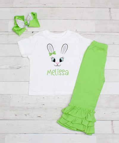 Lime Bunny with Bow Personalized 3pc Shirt and Ruffle Pants Set