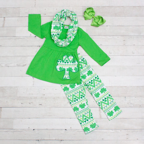 Irish Boho 3pc A-Line Tunic Set - Top, Pants & Scarf