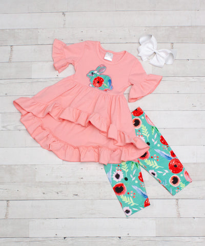 Tropical Blush Bunny 2 Piece Outfit - Top & Pants