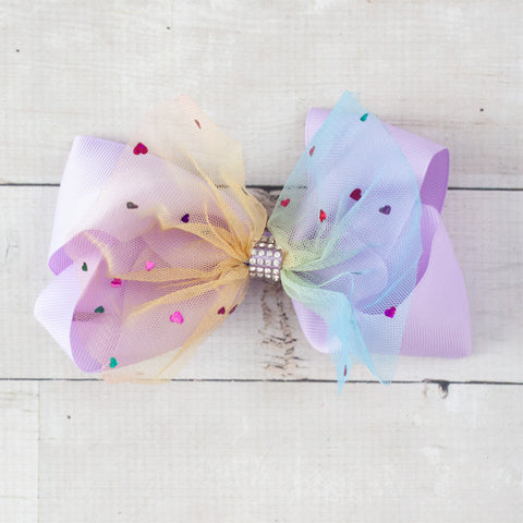 "6"" Hearts on Tulle & Grosgrain with Rhinestone Hair Bow Clip - 7 Colors"