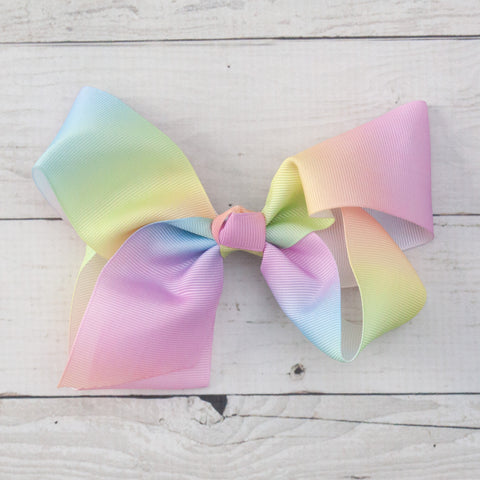 "6"" Pastel Rainbow Grosgrain Hair Bow"