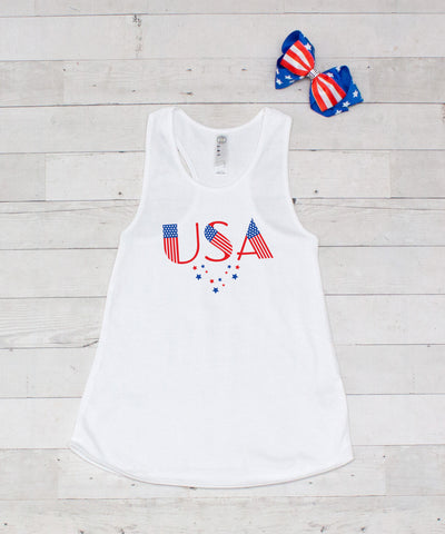 USA (Stars) - Graphic Tank & Bow Set