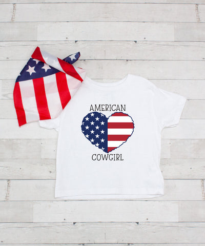 American Cowgirl - Graphic T-Shirt & Bandanna Set