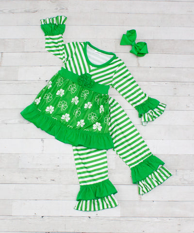Little Shamrocker 2pc A-Line Tunic Set - Top & Pants