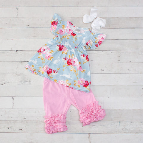 Spring Bouquet 2 Piece Outfit - Top & Shorts
